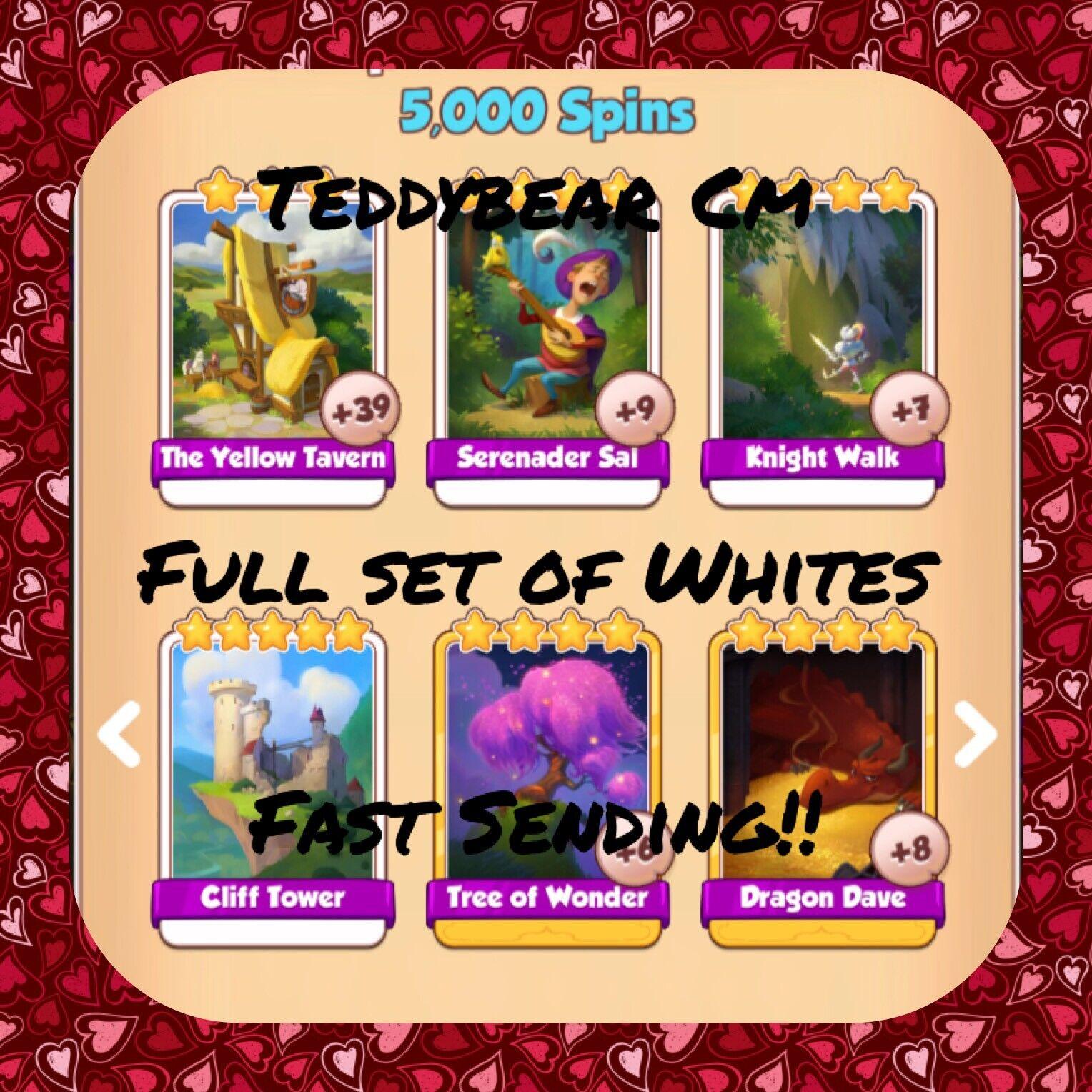 Coin Master Dragon Full Set (All Whites) Cliff Tower, Sal, Etc..(Fast Sending)