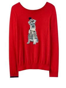 Intarsia Miranda Joules 16 Red Uk 8 Dog Terrier Ladies Taglie Jumper wZZq45Er