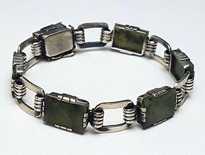 Art-Deco-Silber-Armband-835-Silber-punz-Moosachat-besetzt-19-5-cm-1-2cm-A-580