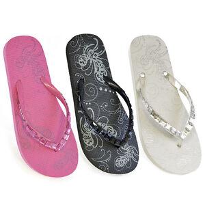 d3ec14cf98ffd ladies girls jewel flip flops sandals floral pink black white sizes 3 4 5 6  7