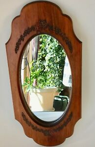 Vintage-wall-mirror-wood-frame-floral-carvings-oval-23-034-hardware-3-lbs-excellent