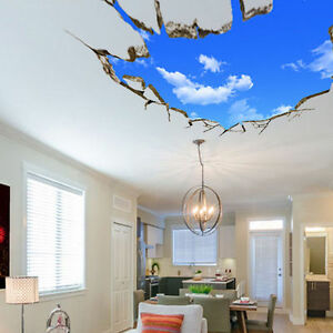 Elegant Image Is Loading 3D Blue Sky Broken Ceiling Removable Wall Stickers