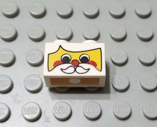 LEGO White 1x2 Brick with Santa Claus Face Christmas Pattern