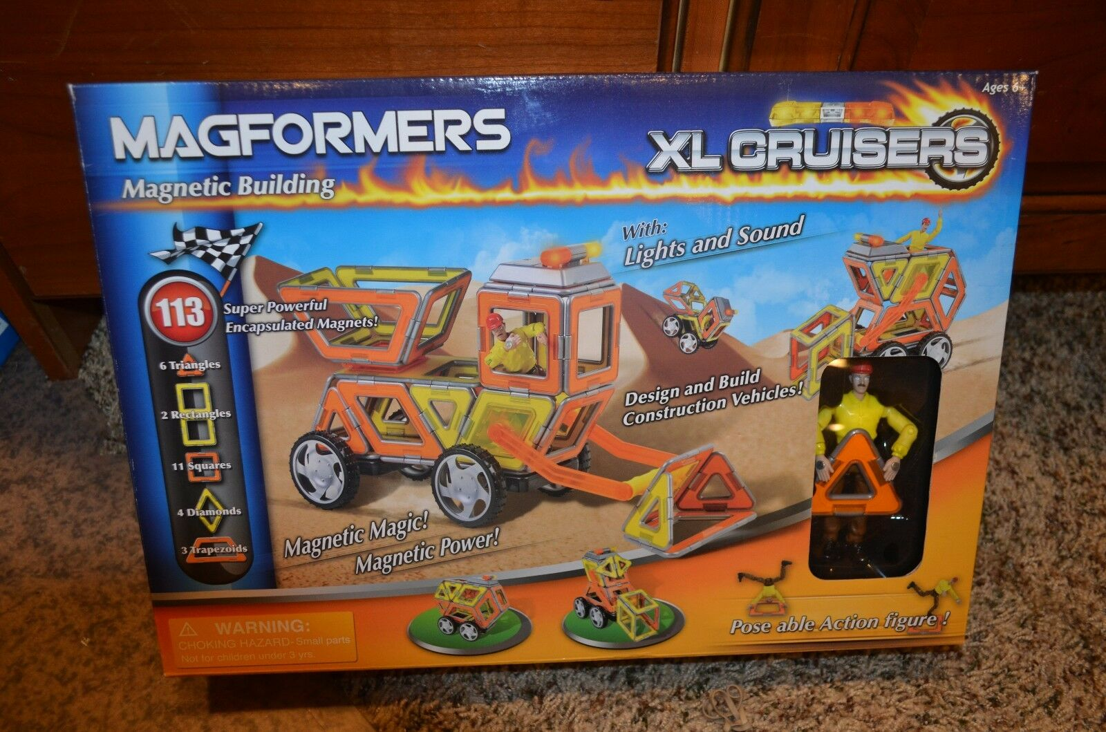 MAGFORMERS XL CRUISERS MAGNETIC 113 PIECE SET NEW UNOPENED DATED JULY 16 2010
