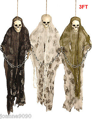 3FT Halloween Hanging Horror Skeleton In Chains And Robe Decoration Display Prop