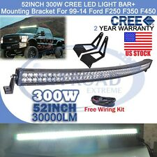 "1999-2015 Ford F250 F350 F450 Roof Mount Bracket + 52"" LED Curved LIGHT Bar OR"