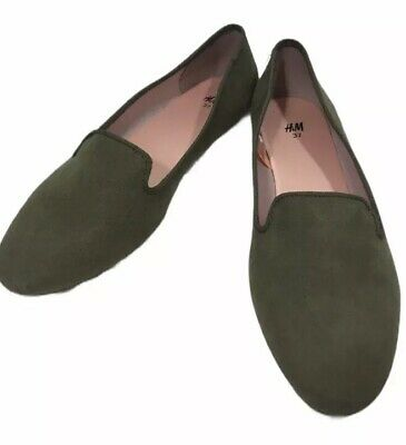 Green Faux Suede Flats Slip On NWOT