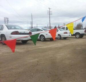 Car Dealer 2 60 120 Poly 12x18 Flag Lot Pennant Streamers Mult