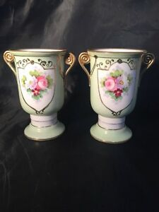Vintage-Antique-Japanese-Noritake-Pair-Of-Green-Vases-Made-In-Japan