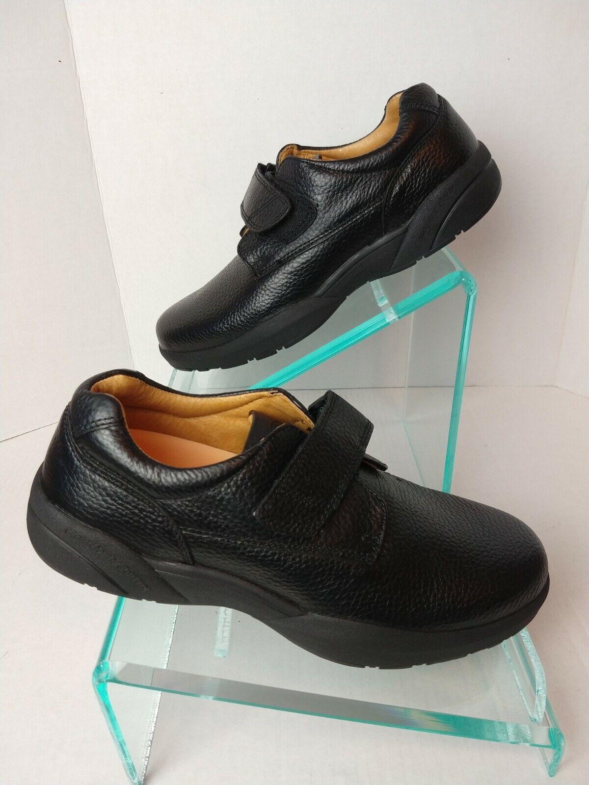 Dr. Comfort William Blk Leather Hook Loop Strap Loafers Shoes Men's 11M. #767
