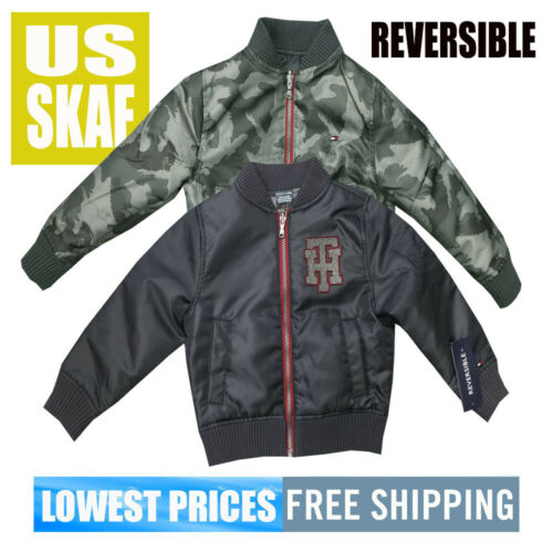 Tommy Hilfiger SZ 2T NWT REVERSIBLE Bomber Jacket Grey /& Camo Free Ship MSRP $79