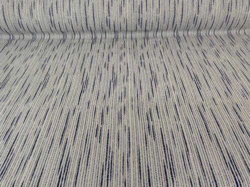 "Zambeizi Stripe French Blue// White Linen //Cotton 280cm//108/"" Curtain Fabric"