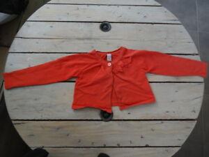 Gilet-court-orange-manches-longues-ZARA-KIDS-Taille-4-5-ans-110-cm