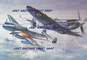 Airfix-Spitfire-Mk-Roy-Cruz-1X-Messerschmitt-Me-110-tamano-poster-obra-de-arte-A3