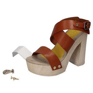 scarpe-donna-SUKY-BRAND-35-EU-sandali-marrone-bianco-pelle-AC815-B
