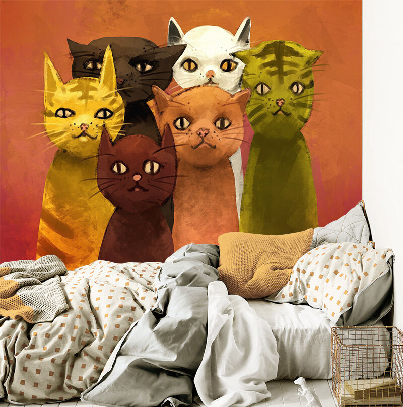 3D Meowo painted wall Paper Print Decal Wall Deco Indoor wall Mural