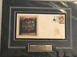 BYRON-BIRDSALL-1998-Tlingit-Rattle-Raven-Dance-Stamp-Alaskan-Collectible