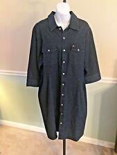 Tommy Hilfiger Woman Dark Wash Jean 3/4 Sleeve Cotton Blend Dress - 20W
