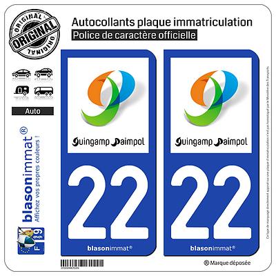 2 Stickers Autocollant Plaque Immatriculation : 22 Guingamp - Agglo