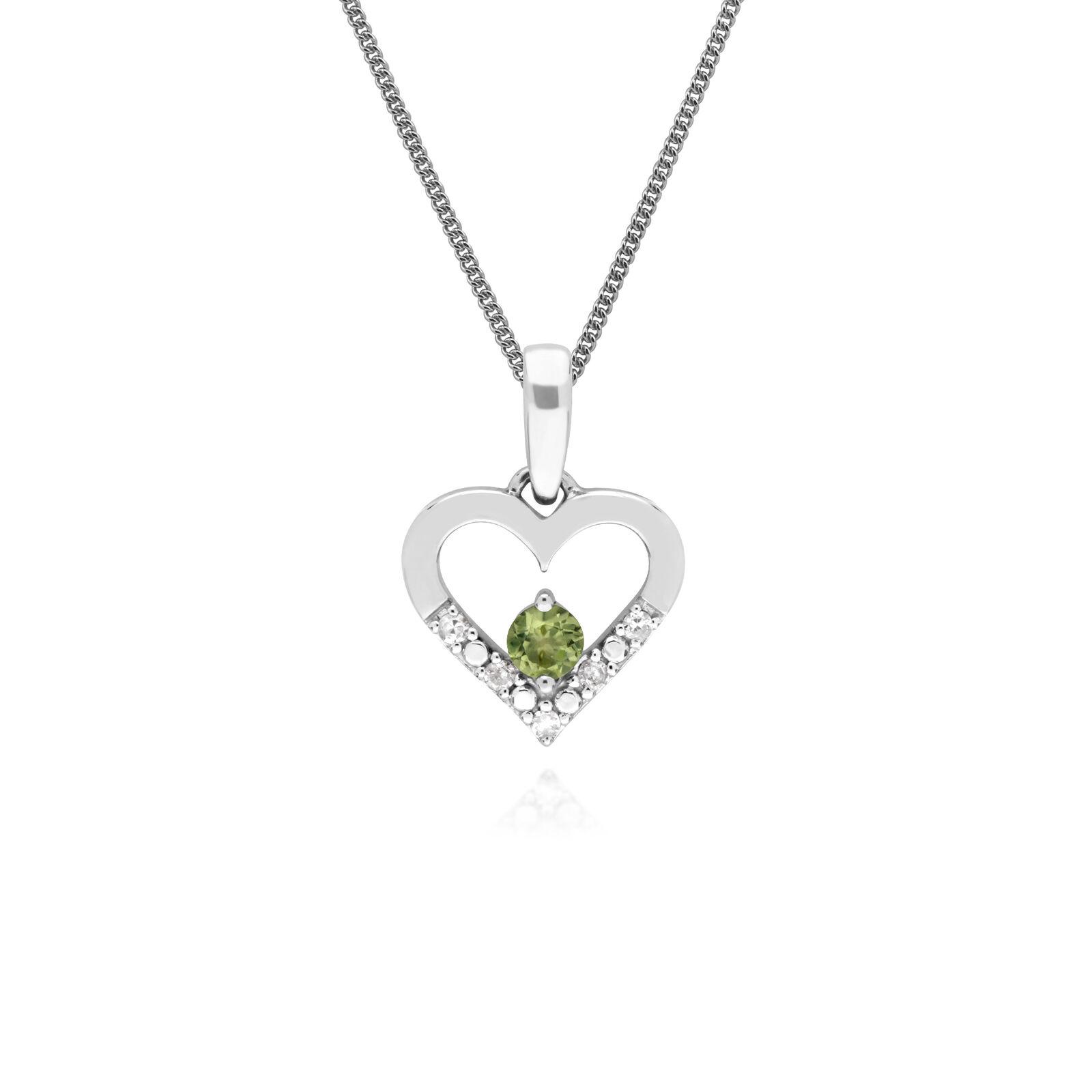 Gemondo 9ct White gold Single Peridot & Diamond Heart Pendant on 45cm Chain