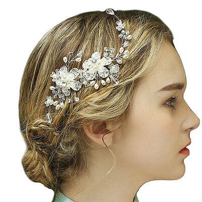 1Stück Braut Kamm Steckkamm Haarkamm Blumen aus sanft Tüll Perle und Kristallen