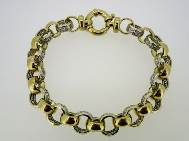9ct Yellow and White Gold 21 cm 154 CZ Belcher Bracelet 27.7 Grams