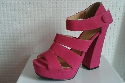 Señoras para mujer Rosa Fucsia Con Tiras Verano Sandalia Zapato Con Taco Alto Reino Unido Talla 6