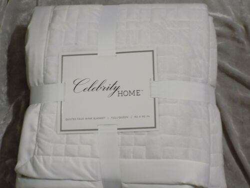 Quilted Faux Mink Blanket 90x90 Full Queen Polyester Soft Warm White Pink NEW!