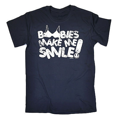 BOOBIES MAKE ME SMILE FUNNY PRINTED TSHIRT MENS TEE TOP NOVELTY JOKE MENS GIFT