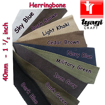 "KHAKI 25mm 1/"" inch Herringbone Tape 100/% Cotton Trim Strap Edge Apron Tie Twill"