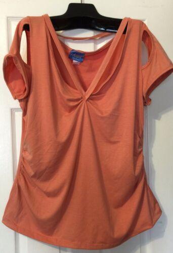 Brand New Angel Peach Color very sexyTop Cap Sleeve 3XL Stretch Top V Neckline