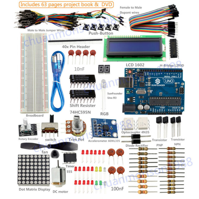 SunFounder New Lab Project Uno R3 + Super Starte Kit  For Arduino Mega 2560 Nano