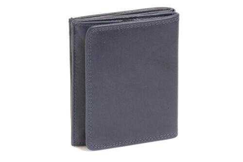 Echt-Leder Wiener-Schachtel Ausweis-Format große Kleingeldschütte LEAS blau