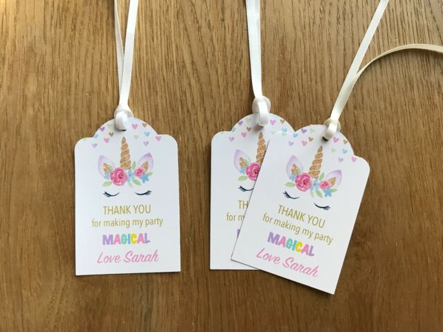 Unicorn Thank You Gift Tags~ Personalised for Birthday, Baby Shower, Christening