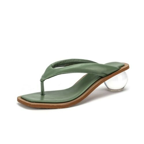Details about  /35-39 Women/'s Leather Thong Crystal Heel Beach Slipper Sandal Shoes Mule ly00