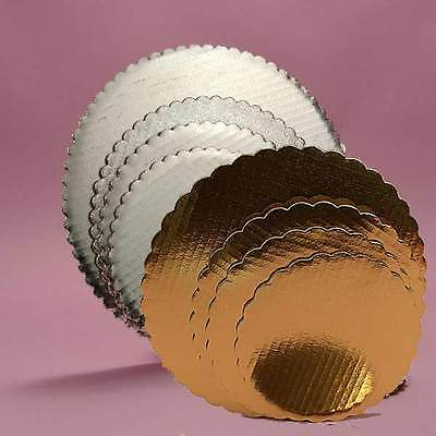 "Kitchen, Dining & Bar Lot Of 5 Cake Board Gold/silver 8"" Round Circle Decorating Sturdy Tiered Layer Home & Garden"