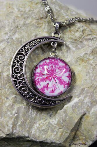 Glass Jewels cadena de plata colgante luna cabochon flor rosa #m057