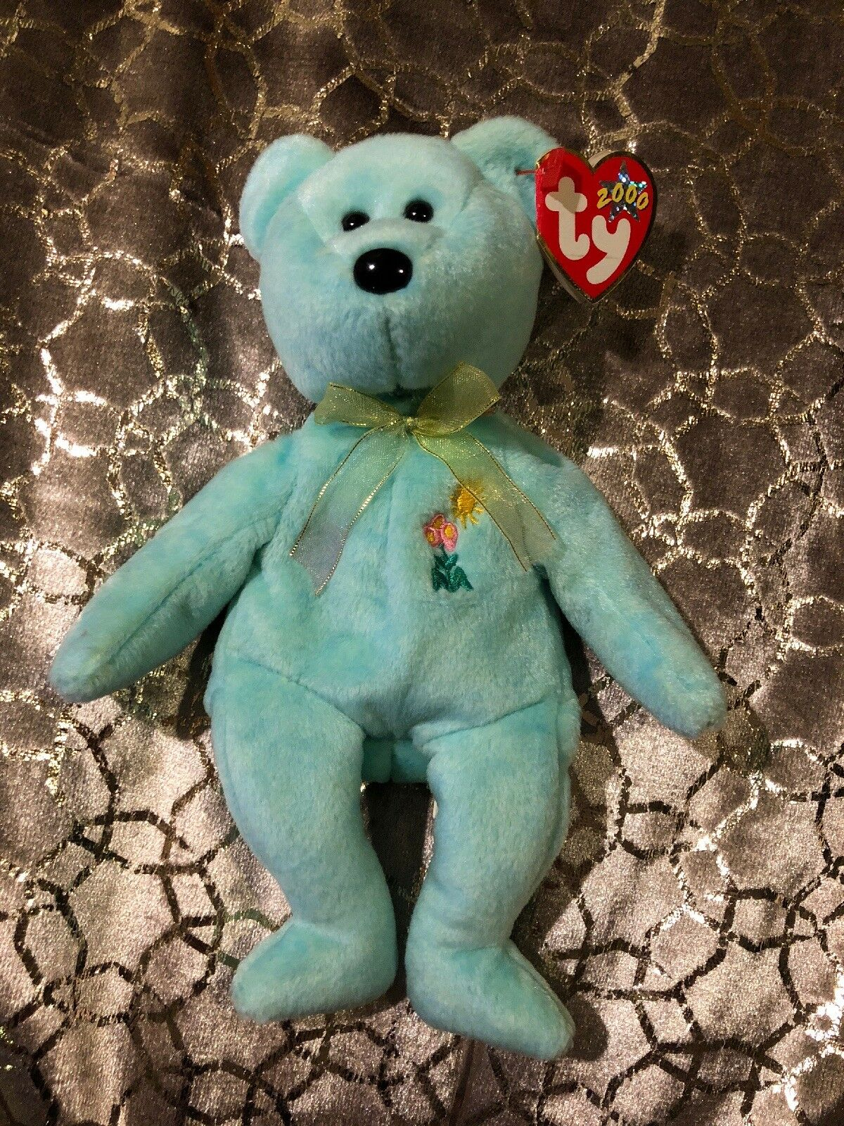 Ty Beanie Baby Ariel the Bear 2000 Pediatric AIDS Foundation Charity-RARE MINT