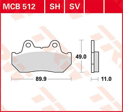 Plaquettes de frein Avant TRW Lucas MCB 512 SV pour Honda VF 1000 F F2 84
