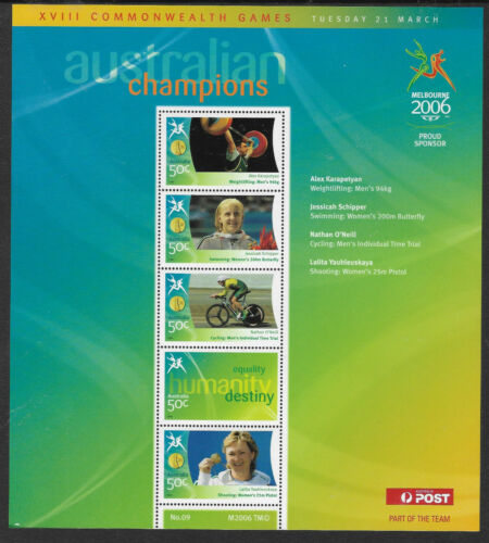 AUSTRALIA 2006 COMMONWEALTH GAMES GOLD MEDAL Swimming Souvenir Sheet No 9 MNH