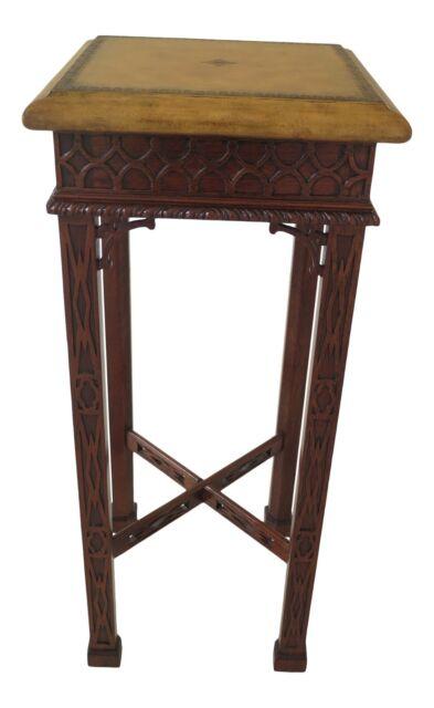 30971ec Maitland Smith Leather Panel Mahogany Lift Top Coffee