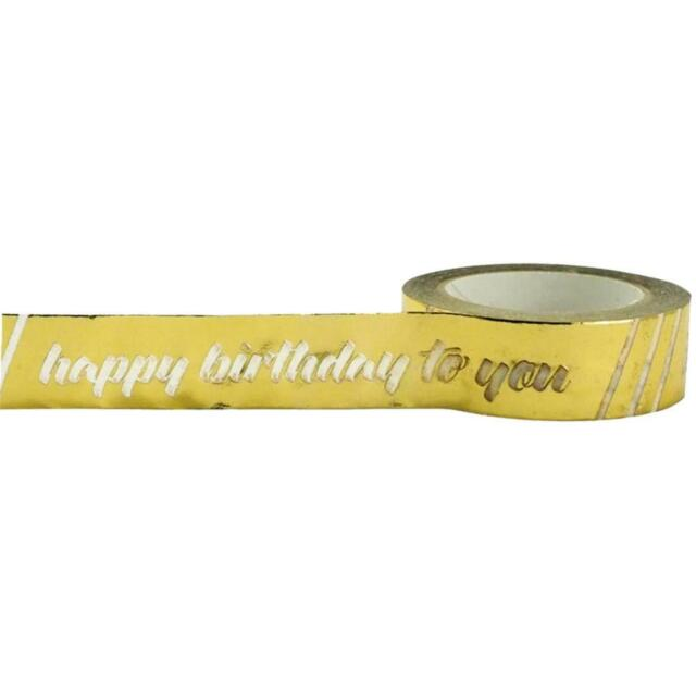 Happy Birthday Gold Foil Paper Washi Tape, 15mm x 10m by Little B