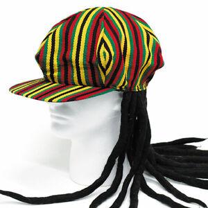 Image is loading Rasta-Hat-w-Hair-Attached-Rasta-Wig 6594f900ea76