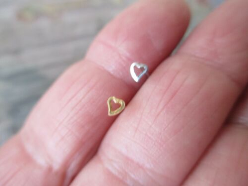Open Heart .925 Sterling Silver U-Bend Nose Bone Screw 20G Gold