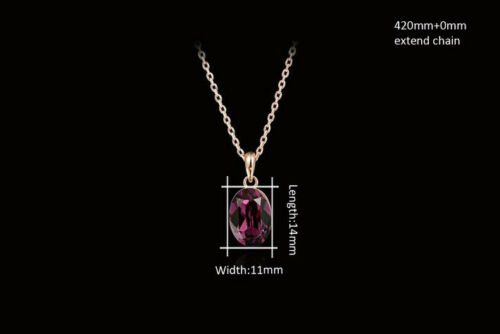 Rose Gold Plated Red Garnet Crystal Teardrop Formal Bridal Wedding Necklace N58