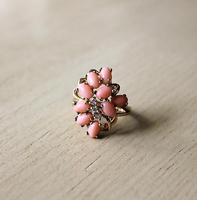 Gold-plated pink coral ring