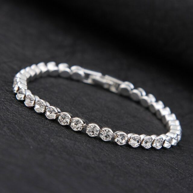 Silver Plated Made With Swarovski Crystals Tennis Bracelet Mothers