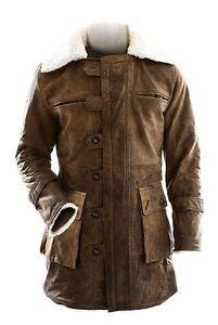 la levanta de chaqueta de se Caballero oscuro zanja hombre de cuero Abrigo pana apenada para z7qSEPvw