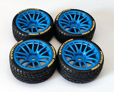 1//10 Rc Onroad Wheels Rubber Tires for Hpi Rs4 Tamiya tt01 tt02 Traxxas 4tec