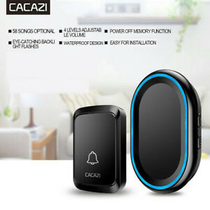 CACAZI-Home-Security-Wireless-Smart-Waterproof-Doorbell-LED-light-58-Songs-UK